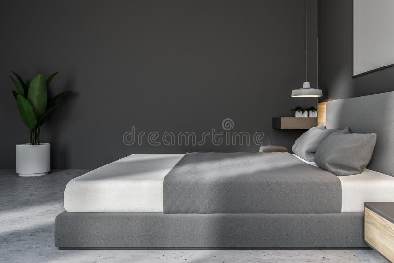 Camera da letto bianca e grigia con il manifesto, vista laterale illustrazione vettoriale