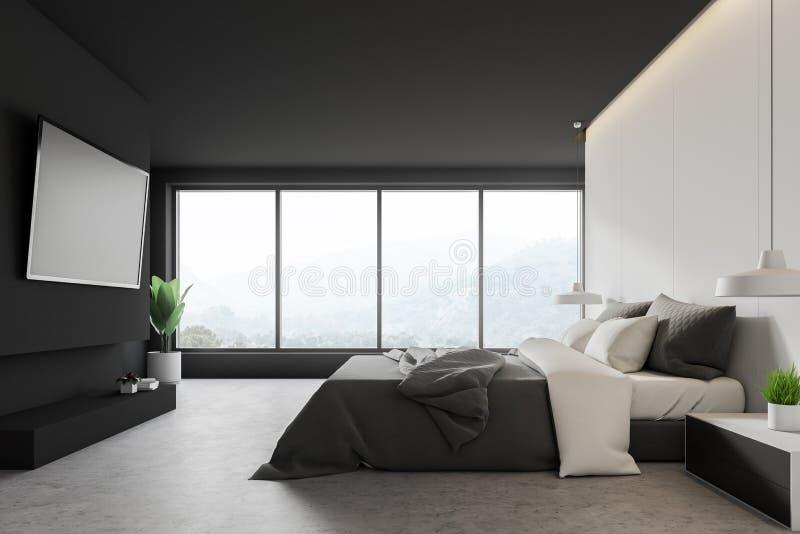 Camera da letto bianca e grigia con la TV royalty illustrazione gratis