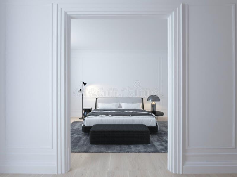Camera da letto bianca minima di lusso con il pavimento di legno fotografia stock
