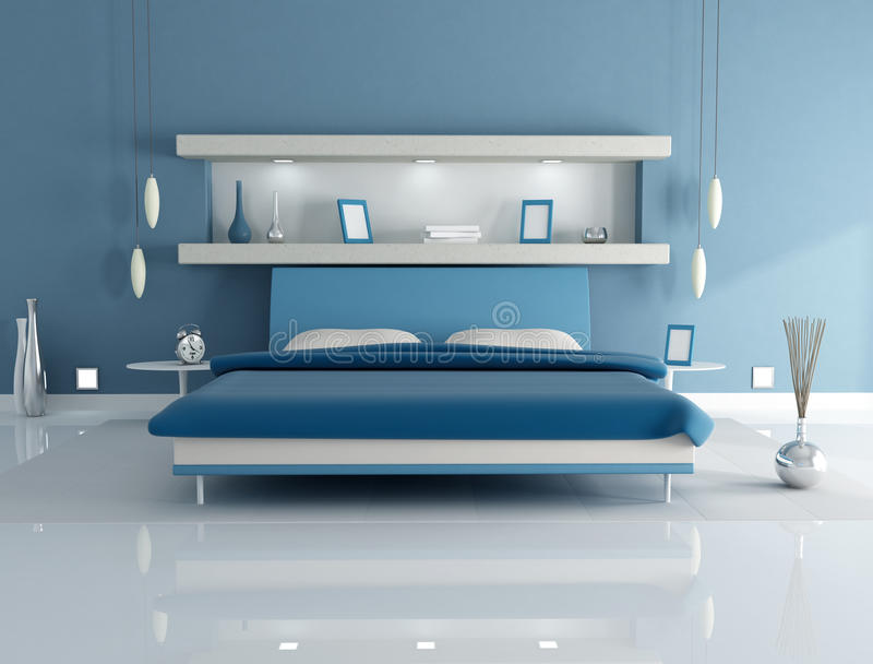 Camera da letto blu illustrazione di stock. Illustrazione di ...