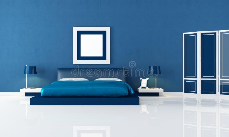 Camera da letto blu illustrazione di stock. Illustrazione di lampada ...