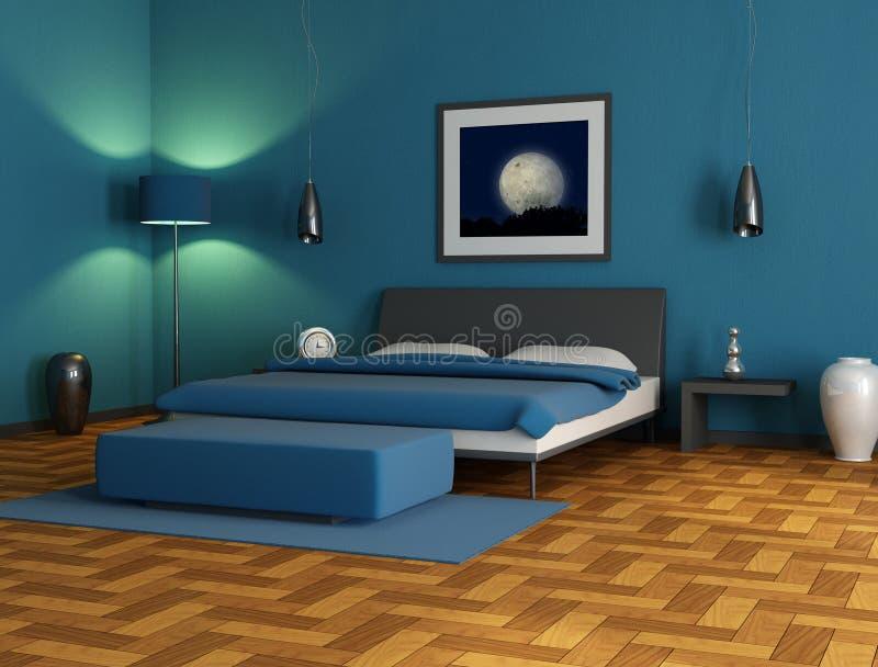Camera da letto blu illustrazione di stock. Illustrazione di bedroom ...