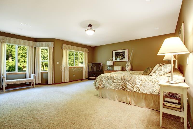 Camera da letto calda spaziosa con le pareti marroni immagine stock libera da diritti