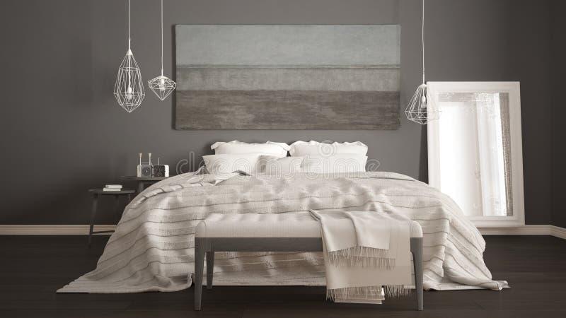 Camera da letto classica, stile moderno scandinavo, interio minimalistic fotografia stock libera da diritti