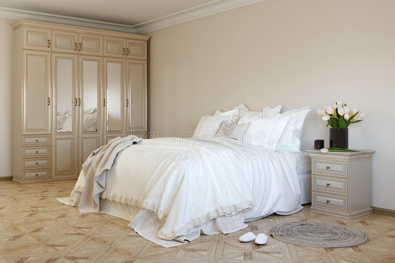 Camera da letto in colors1 morbido fotografia stock libera da diritti