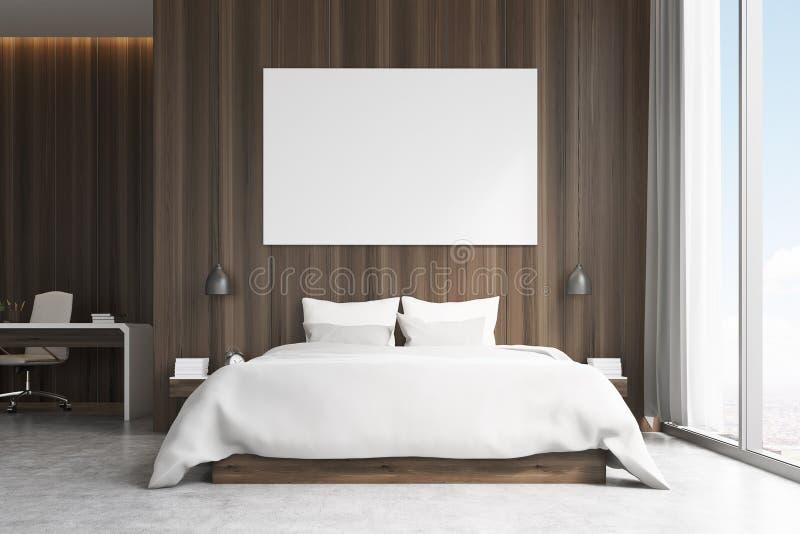Camera da letto con area di studio, vista frontale illustrazione di stock