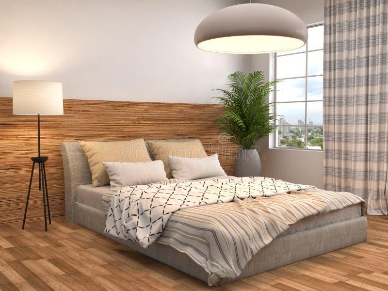 Camera da letto con disposizione di legno illustrazione 3D illustrazione di stock