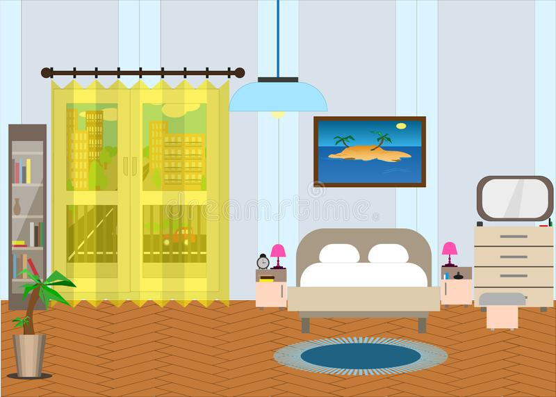 Camera da letto con mobilia e una finestra Fuori della via royalty illustrazione gratis