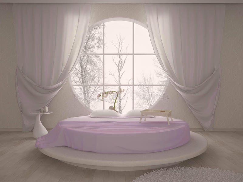 Camera da letto con una finestra circolare illustrazione di stock illustrazione di base - Letto circolare ...