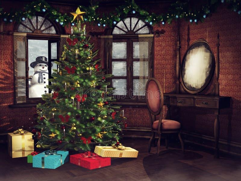 Camera da letto d'annata con un albero di Natale illustrazione vettoriale