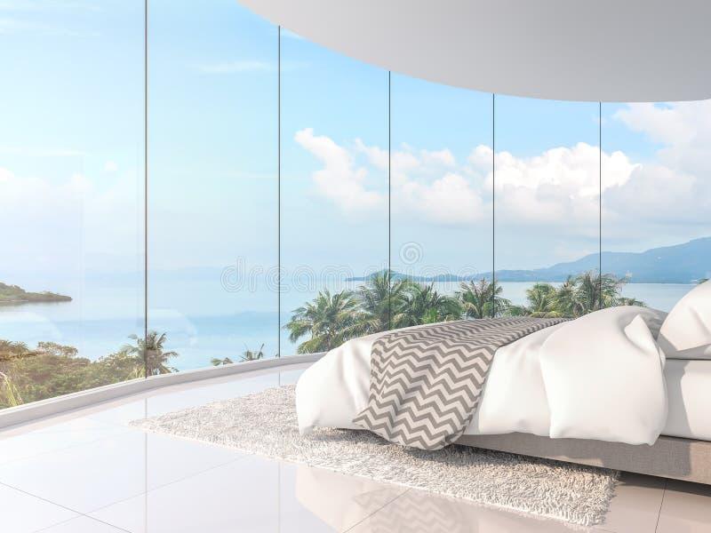 Camera da letto 3d di vista del mare di panorama rendere illustrazione vettoriale
