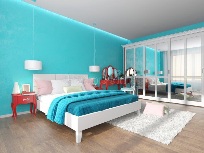 Camera da letto del turchese con la tavola ed il guardaroba di condimento illustrazione vettoriale