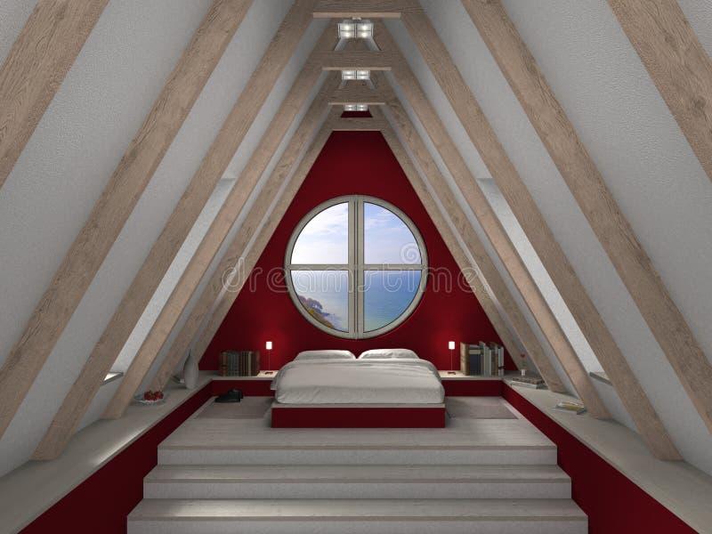 Camera da letto della mansarda illustrazione vettoriale