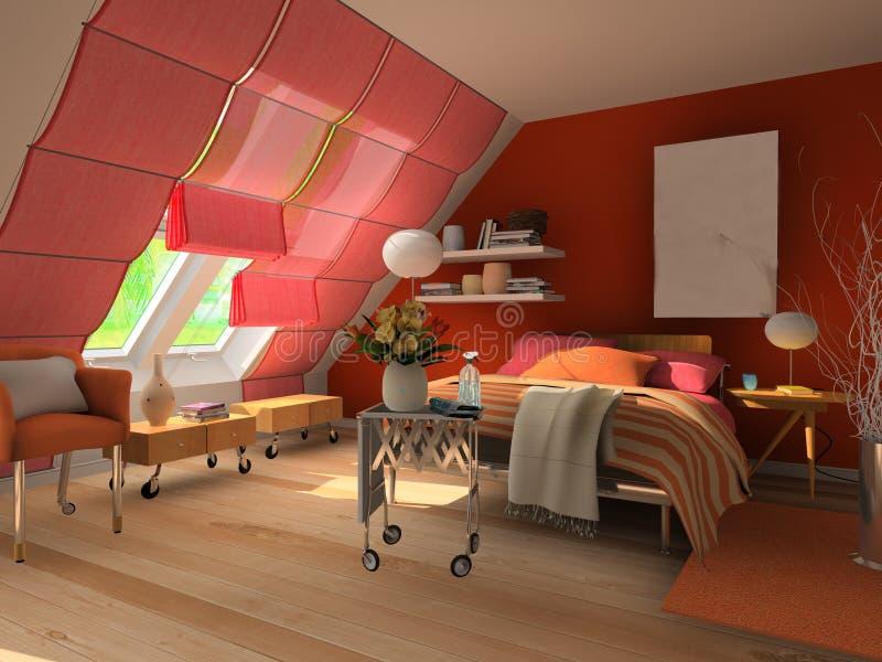 Camera da letto della rappresentazione 3d illustrazione di for Camera letto 3d