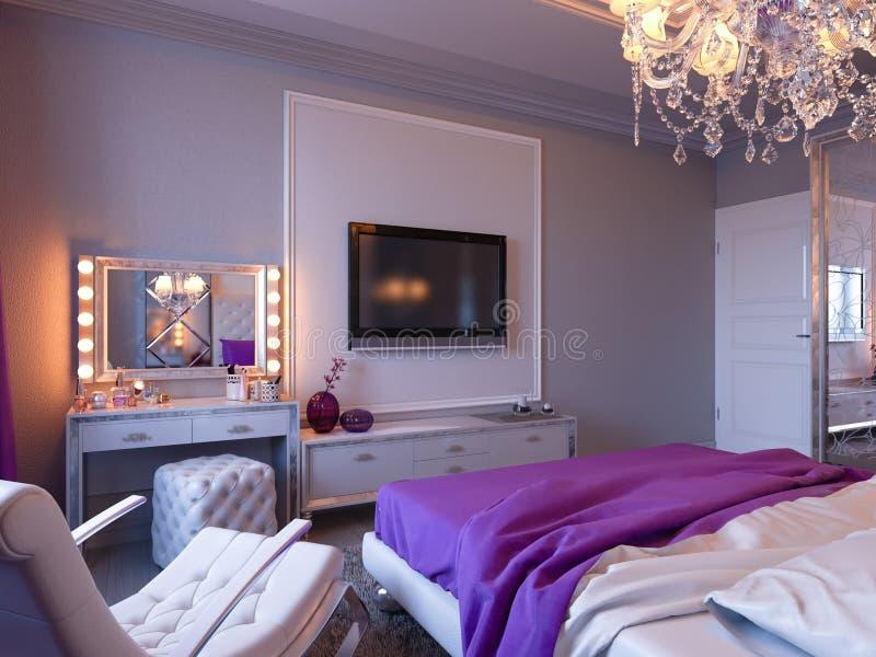camera da letto della rappresentazione 3d nei toni grigi e bianchi con gli accenti porpora ed il grande armadietto illustrazione di stock