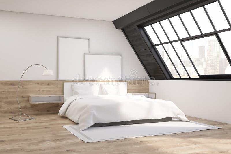 Camera da letto della soffitta con tappeto illustrazione di stock
