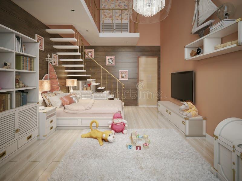 Camera da letto delle ragazze nello stile classico illustrazione di stock illustrazione di - Camera da letto stile classico ...