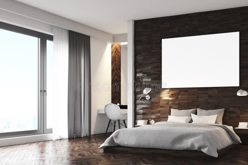 Camera da letto di legno scura, angolo royalty illustrazione gratis