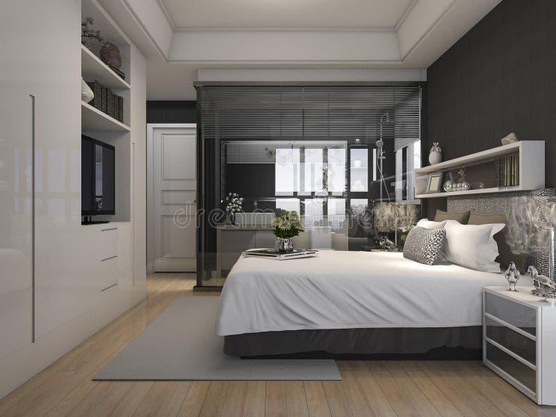 Camera da letto di lusso dell 39 hotel della serie della rappresentazione 3d vicino al bagno di - Culla vicino al letto ...