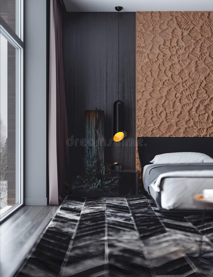 Camera da letto di ospite nei colori scuri royalty illustrazione gratis