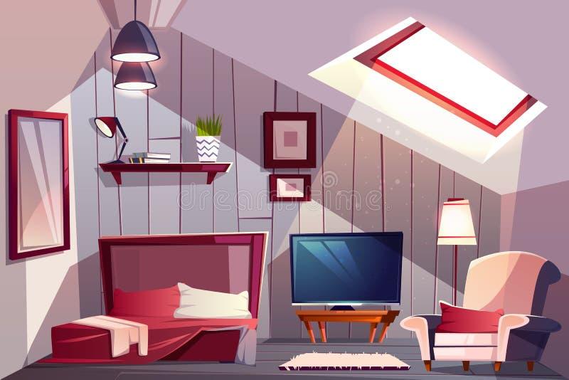 Camera da letto di ospite sull'interno di vettore del fumetto della soffitta illustrazione vettoriale
