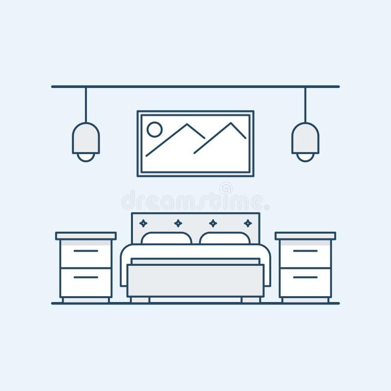Camera da letto di progettazione moderna con un letto matrimoniale ed i comodini La grande immagine sulla parete e sulle lampade  illustrazione vettoriale