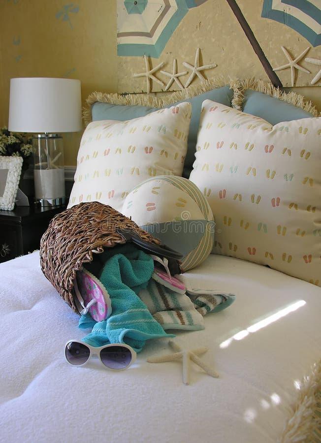 Camera da letto di tema della spiaggia fotografie stock