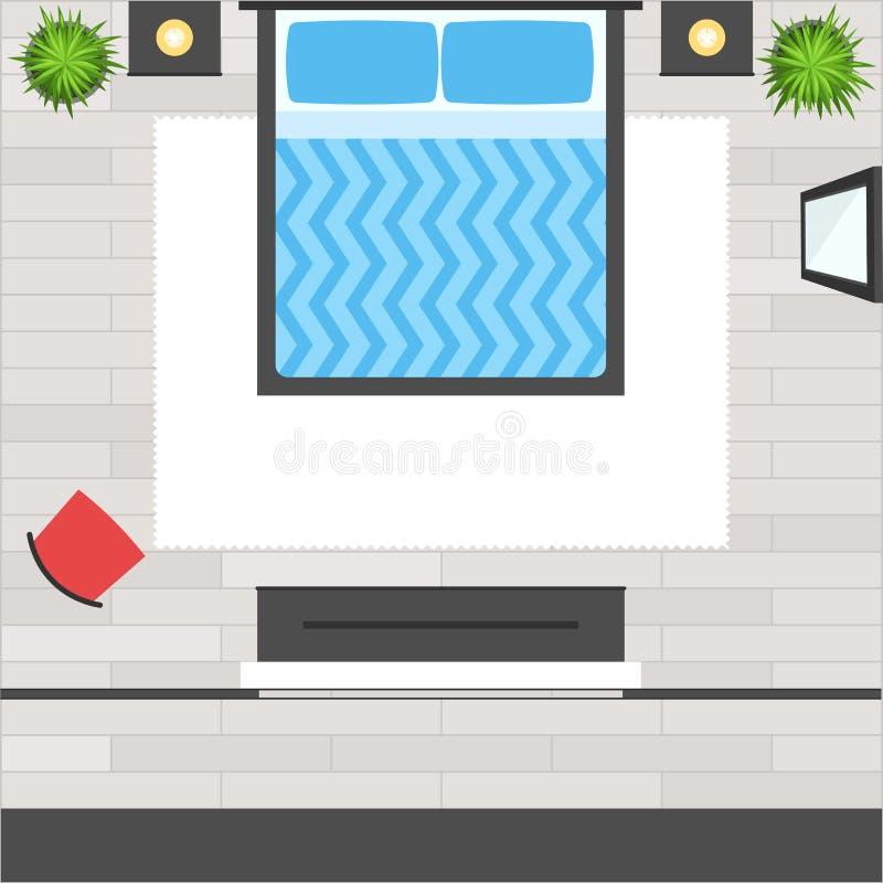 Camera da letto di vista superiore illustrazione vettoriale