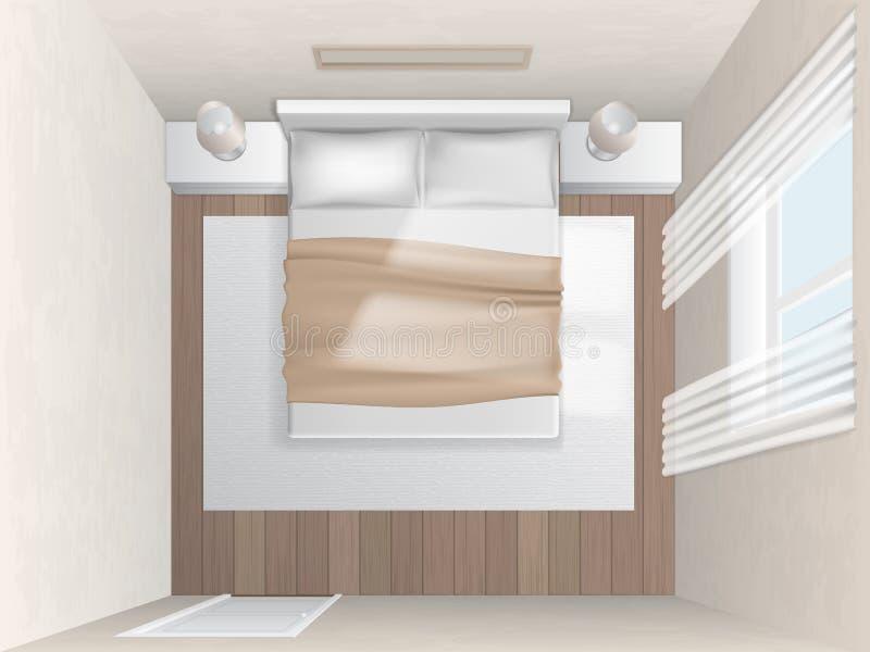Camera da letto di vista superiore con le pareti beige illustrazione vettoriale