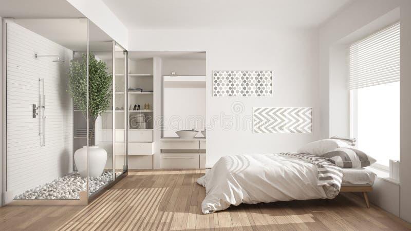 Camera da letto e bagno minimalisti con il gabinetto delle for Interni minimalisti