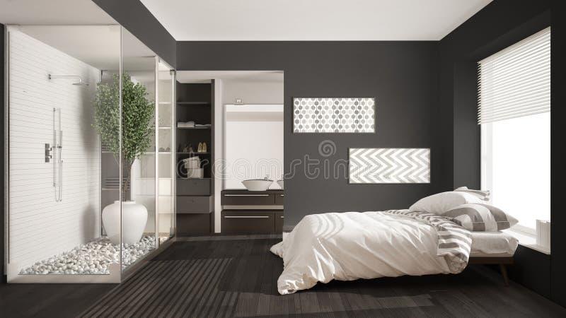 Camera da letto e bagno minimalisti con il gabinetto delle persone senza appuntamento e della doccia, fotografia stock libera da diritti