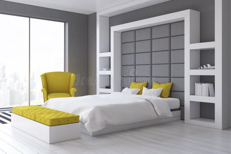 Camera da letto grigia della parete lato illustrazione di - Camera da letto grigia ...