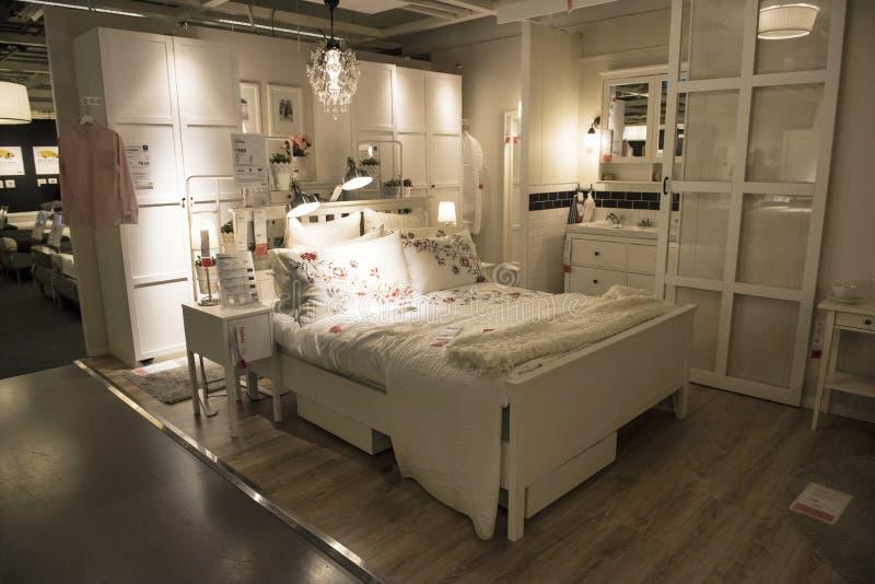 Camera da letto ideale nel deposito di IKEA, Sydney fotografie stock