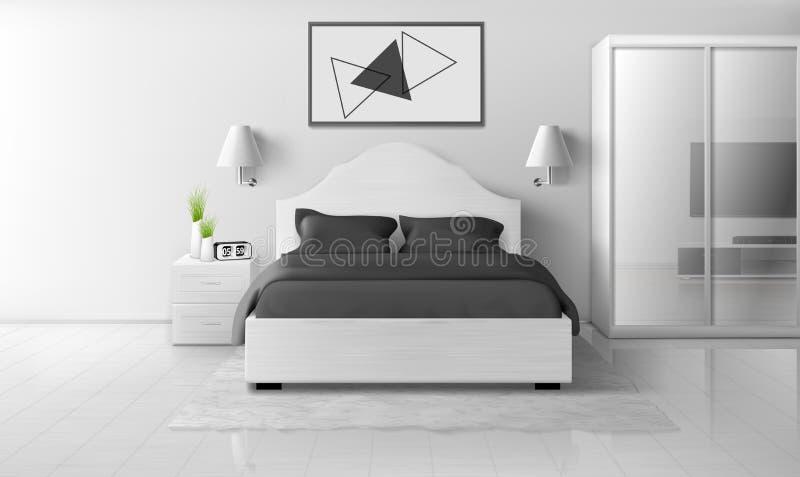 Camera da letto interna nei colori monocromatici, casa moderna royalty illustrazione gratis