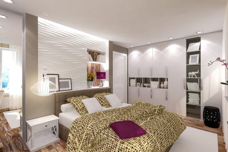 Camera da letto interna nello stile moderno immagini stock