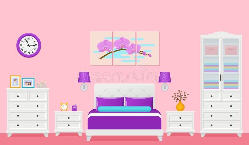 Camera da letto, interno della camera di albergo con il letto Illustrazione di vettore illustrazione di stock