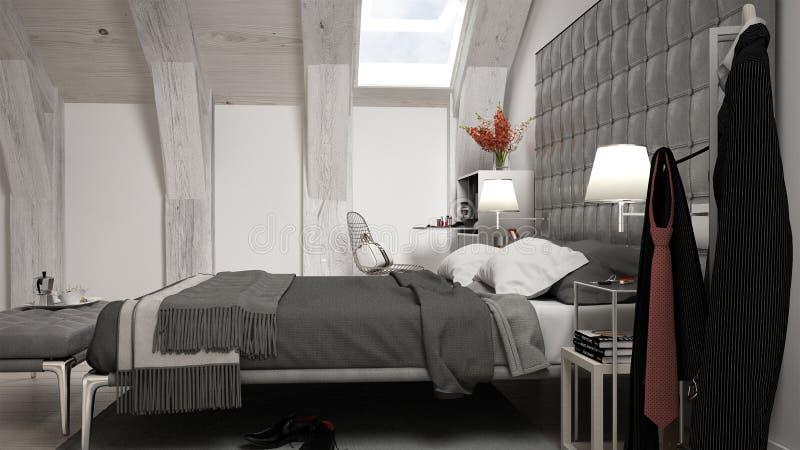 Camera da letto minima del sottotetto royalty illustrazione gratis