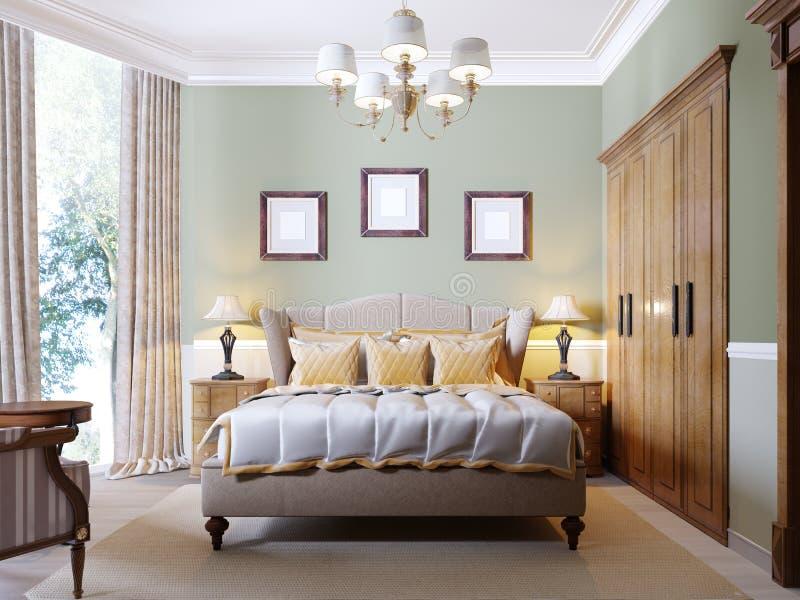 Camera da letto moderna classica con le pareti verde oliva, la grande finestra e la mobilia di legno illustrazione di stock