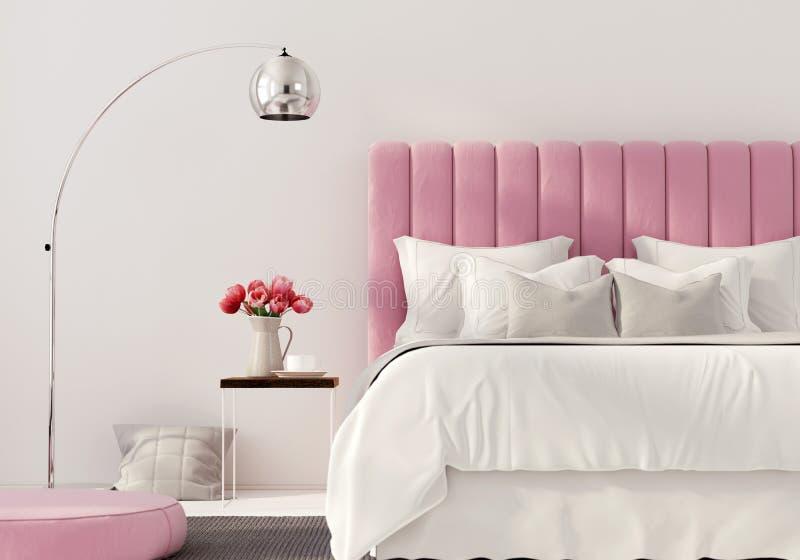 Camera da letto moderna con il letto rosa royalty illustrazione gratis