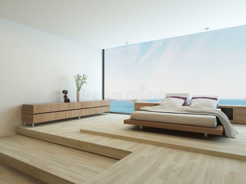 Camera da letto moderna con il pavimento alle finestre del for Finestre a soffitto