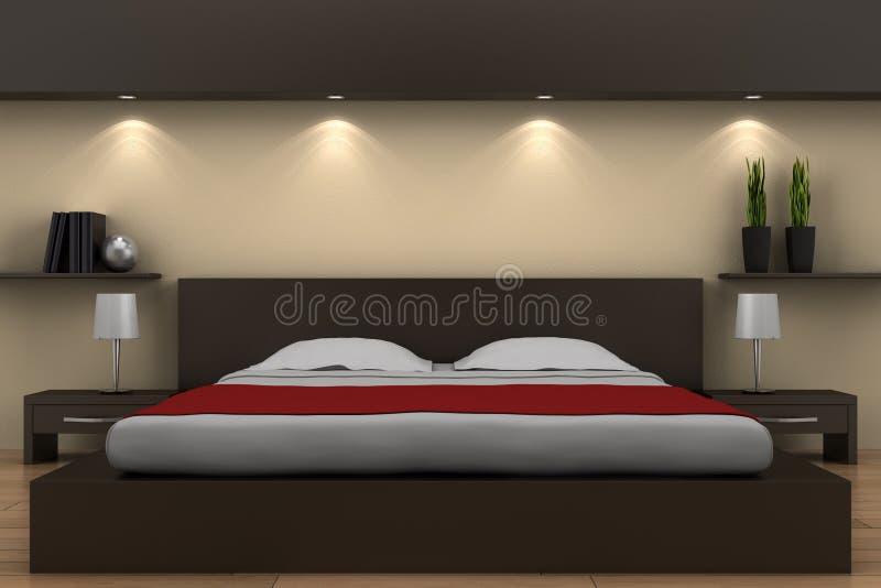 Camera da letto moderna con la base marrone royalty illustrazione gratis