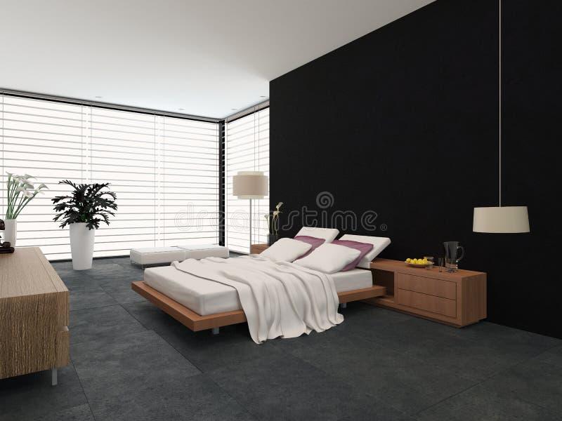 Camera da letto moderna con la decorazione in bianco e nero illustrazione di stock - Decorazione camera da letto ...