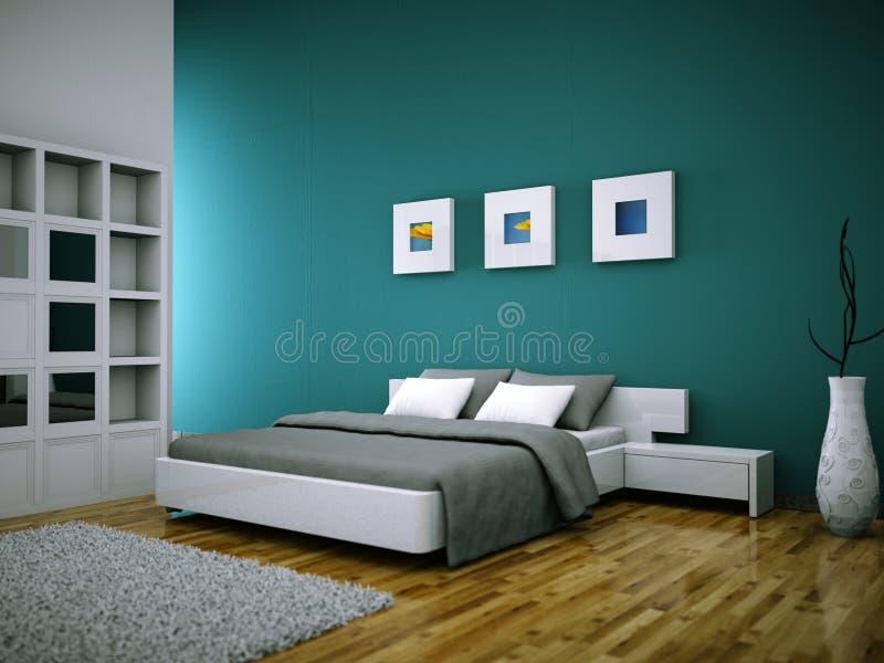 Camera Da Letto Moderna Con La Parete Verde E Decorazione ...