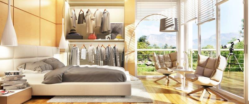 Camera da letto moderna con un guardaroba scorrevole e un grande terrazzo illustrazione di stock