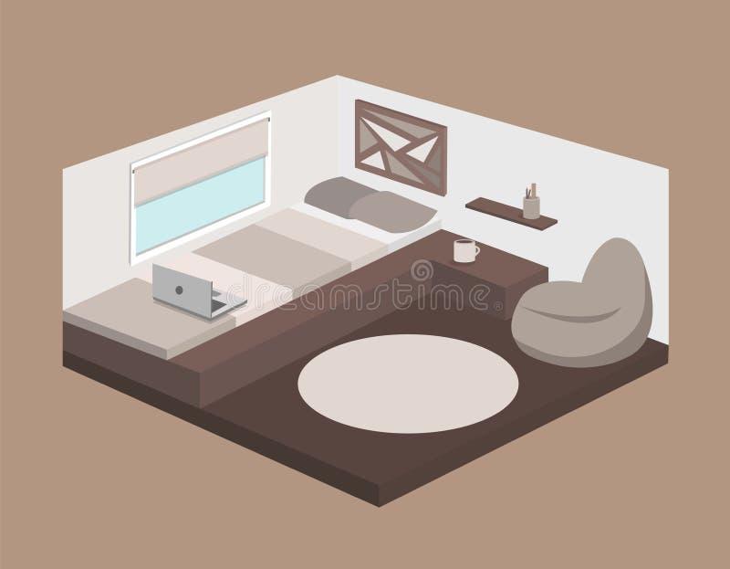 Camera da letto moderna con un podio isometrico illustrazione vettoriale