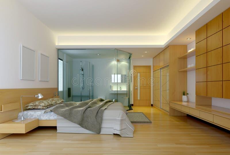 Camera da letto moderna dell'hotel illustrazione vettoriale