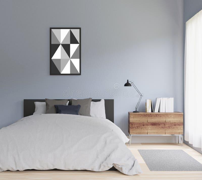 camera da letto moderna della rappresentazione 3d, falsa su, pavimento di legno illustrazione di stock