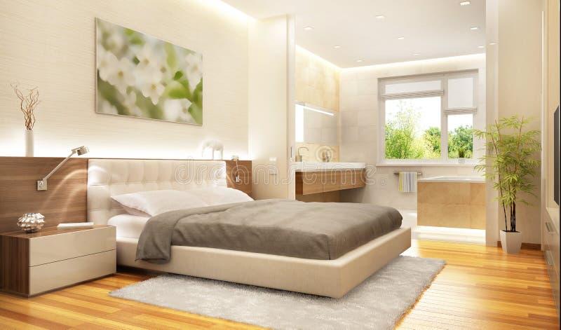 Camera da letto moderna di lusso con il bagno immagine stock