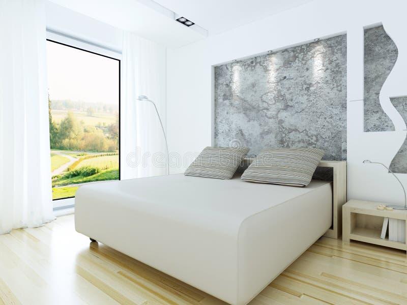 Camera da letto moderna nello stile del sottotetto illustrazione di stock