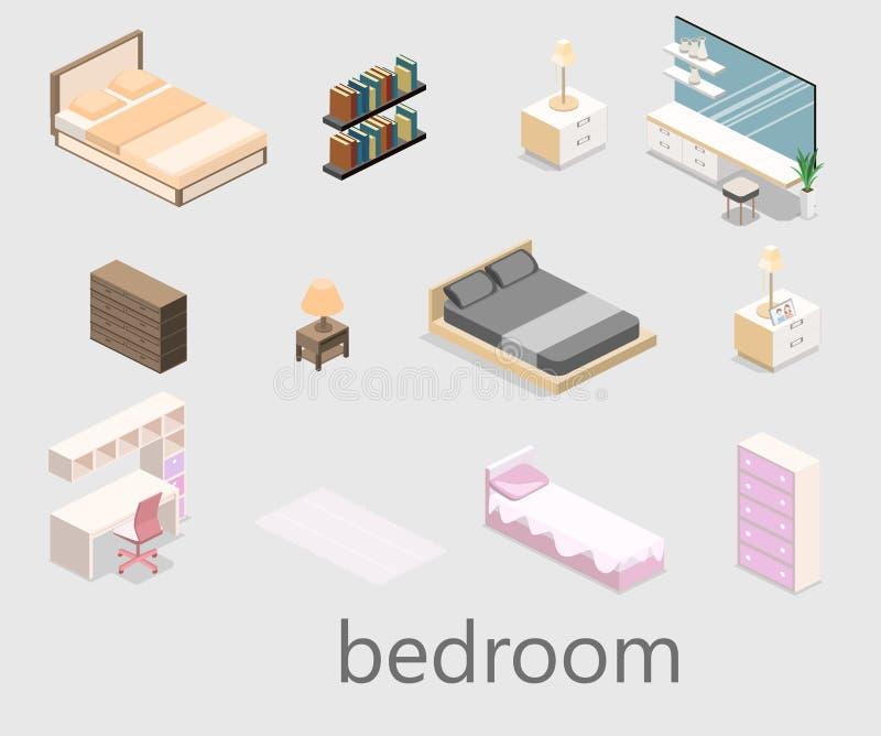 Camera da letto moderna nello stile isometrico Illustrazione piana 3d royalty illustrazione gratis